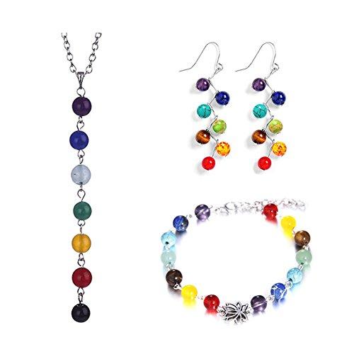DANLIAWOMEN DANLIA 7 Chakra Necklace Bracelet Earring Set, Yoga Reiki Crystal Healing Natural Stone Beaded Quartz Stone Necklace Bracelet Earrings