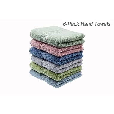 Cleanbear Hand-Towel Face-Towel Set,100% Cotton, High Absorbent, size29 x13 , 6-pack 6 Colors(h601)