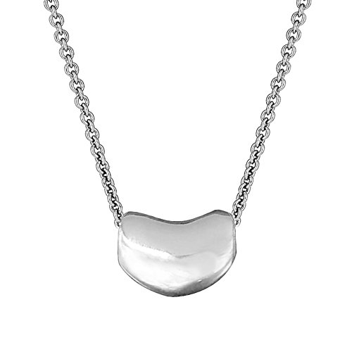 Tiffany Charm Necklace - Sterling Silver Kidney Bean Pendant Charm Necklace 20 Inches