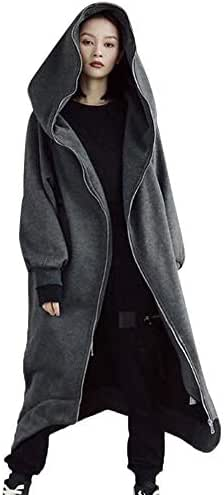 Womens Hooded Sweatshirt Zip Up Solid Long Sleeve Blouse Hooded Pullover Tops Shirt Loose Slouchy Outerwear