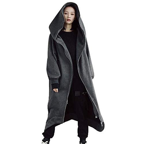 Orangeskycn Womens Trendy Hooded Sweatshirt Long Baggy Full Zip Blouse Plus Size