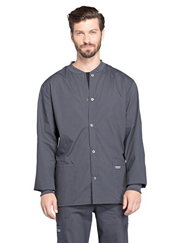 Cherokee Professionals Workwear Men's Snap Front Warm-Up Solid Scrub Jacket Large Pewter by Cherokee