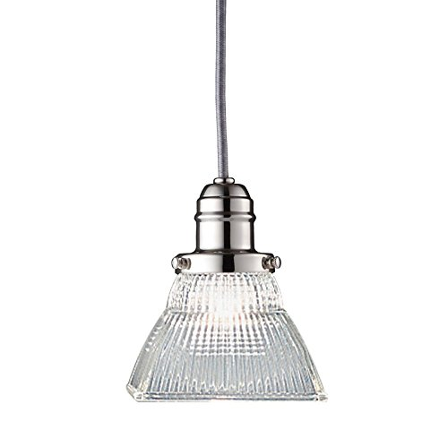 (Vintage Collection 1-Light Pendant - Polished Nickel Finish with Clear Prismatic Glass Shade )