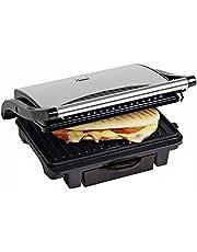 Bestron Sandwichmaker, panini contactgrill, antiaanbaklaag, met lekbak, 1000W, zwart