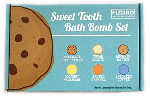 FIZDRO Sweet Tooth Bath Bomb Gift Set - 6 Lush Dessert Scented Bath Bombs with All-Natural Ingredients - Made in the USA
