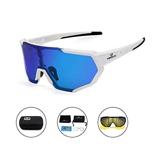 (TOPTETN Polarized Sports Sunglasses for Men Women, Bike Glasses with Strap Interchangeable Lens, Bicycle Sunglasses for Driving Cycling Running Fishing Golf Baseball Outdoor Eyewear Shades)