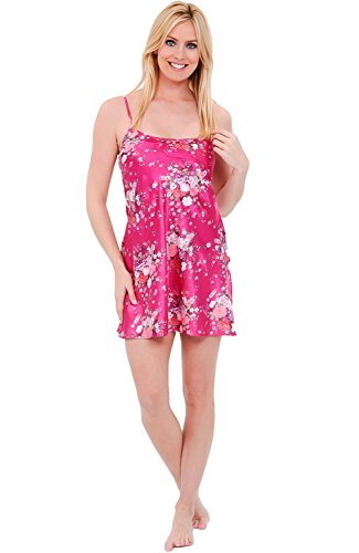 Del Rossa Womens Satin Nightgown, Long Camisole Chemise, Large Flower Clusters on Pink (A0766P90LG)