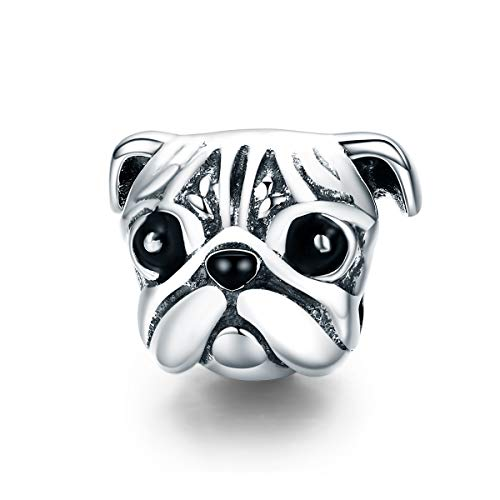 (Everbling Lovely Pet Pug Dog Head 925 Sterling Silver Bead Fits European Charm Bracelet)