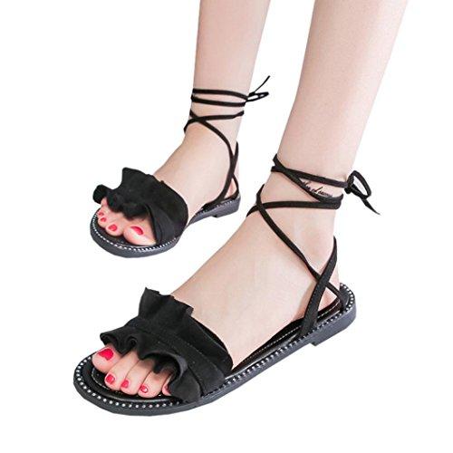 ... Transer® Damen Flach Kreuzgürtel Ankle-strap Sandalen Schwarz Weiß PU- Leder+Gummi ... a455a6efb2