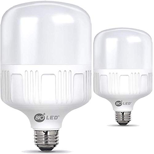 Bioled 45W, E26, 2 Pack, Daylight(5000K), 450 Watt Equivalent, LED Light Bulbs, IP40 Dustproof& Humudity Proof Light Bulbs, Commercial& Residental Bright LED Bulb, Work Light, Garage Light, Home Light