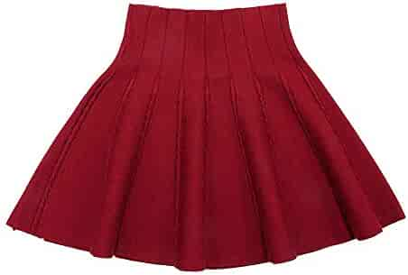 101069d57a Gooket Little Big Girls High Waist Knitted Flared Pleated Skater Skirt  Casual Age 3-14Y