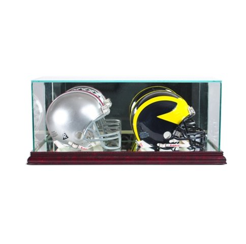 Perfect Cases DBMH-C Double Mini Football Helmet Display Case, Cherry (Double Case Case Football)