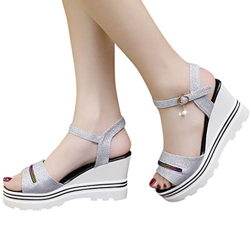 SOOTOP Womens Open Toe Pumps Platform Sandals/Roman Wedges Casual Peep Toe Sandals Wedding Dress Party Fashion Summer Women Shoes ()