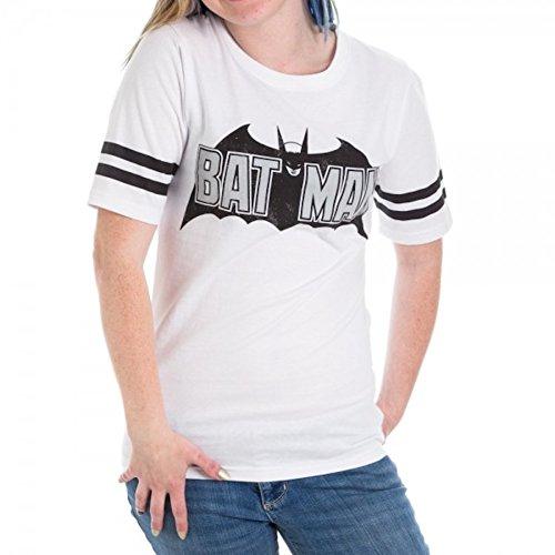 Bioworld Batman Foil Logo White Hockey Juniors T-Shirt (XX-Large)