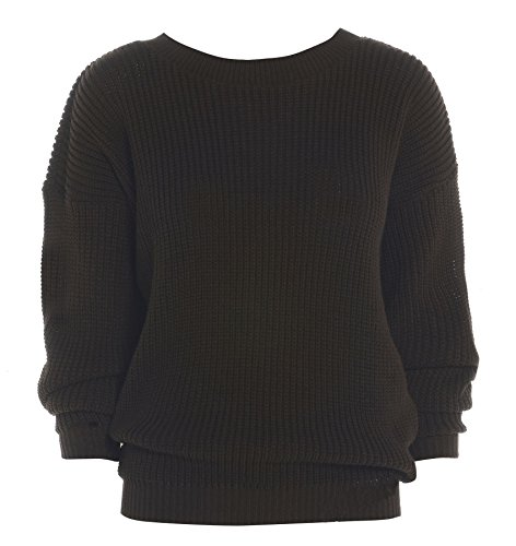 Ladies Womens gran tamaño Baggy Plain–Ovillo de jersey de punto grueso de punto largo Top Jumper UK 8–�?4 marrón