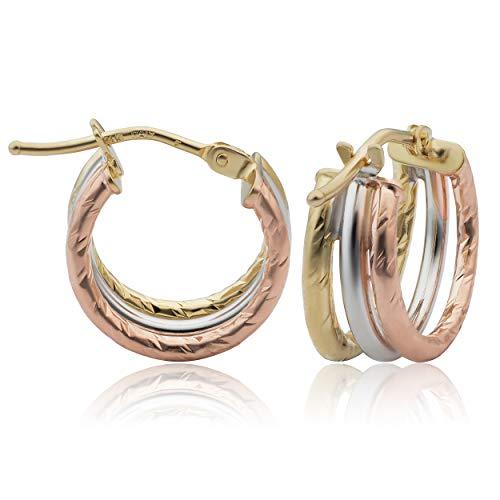 - Kooljewelry 14k Tricolor Gold Small Diamond-cut Triple Hoop Earrings