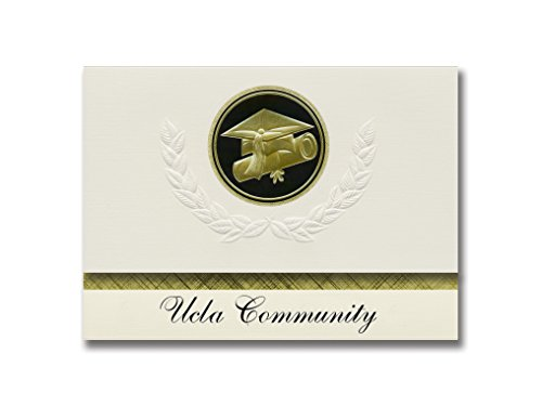 (Signature Announcements Ucla Community (Los Angeles, CA) Graduation Announcements, Presidential style, Basic package of 25 Cap & Diploma Seal. Black & Gold.)