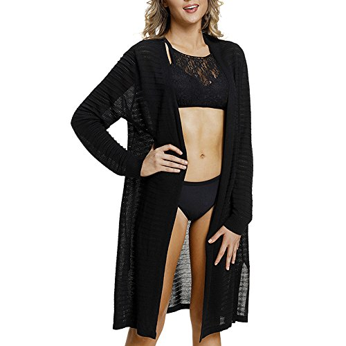 Lrud Women's Casual Striped Knit Open Front Cardigan Bathing Suits Beach Swimwear Cover up Black from Lrud