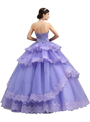 Violett Ohne trägerlosen Arme Emily Rüschen Spitzeapplique abgestuftes Beauty Brautkleider Kugel wqBFPCx