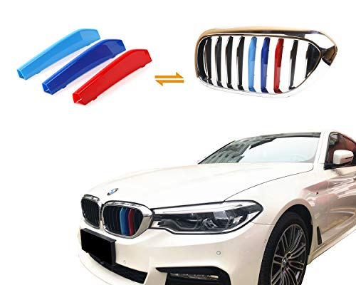 Jackey Awesome Exact Fit ///M-Colored Grille Insert Trims for 2017-2018 BMW G30 G31 G38 5 Series 525i 530i 540i 550i with M-Performance Black Kidney Grill (for BMW 2018 5 Series,9 - 5 530i Series