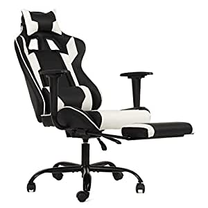 Miraculous Ergonomic Office Chair Pc Gaming Chair Desk Chair Executive Pu Leather Computer Chair Lumbar Support With Footrest Modern Task Rolling Swivel Chair Andrewgaddart Wooden Chair Designs For Living Room Andrewgaddartcom