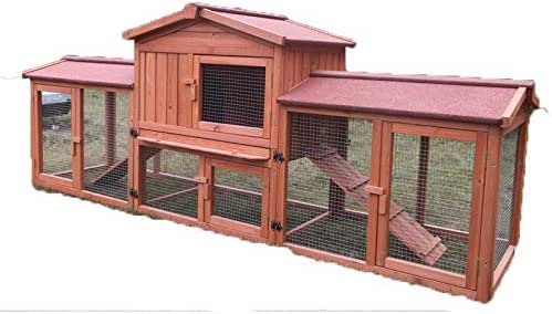 Large Wooden Rabbit Hutch Chicken Coop Ferret Cage Double Run
