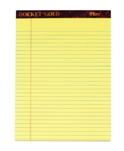 TOPS Docket Gold Writing Tablet, 8-1/2 x 11-3/4 Inches, Perforated, Canary, Legal/Wide Rule, 50 Sheets per Pad, 3 Pads per Pack (63953)