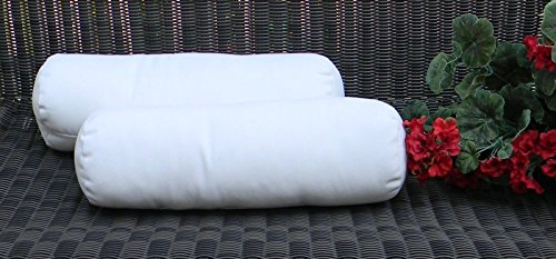 Set of 2 Indoor / Outdoor Decorative Bolster / Neckroll Pillows - Sunbrella Canvas White by Resort Spa Home Decor