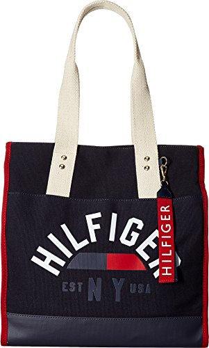 fc81963ee Tommy Hilfiger Women's Carmel North/South Logo Canvas Tote Tommy Navy One  Size