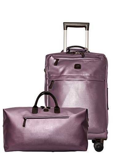 Bric's X Travel 21 International Carry On Spinner and Deluxe Weekender Duffel Set (Metallic Lilac w/Deluxe Duffle) ()