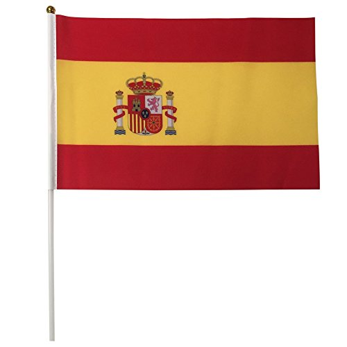 Spain Polyester Country Flags Desk Outside Waving Parade 12-pack Hand or 12 inch x 18 inch Grommet (12-Pack Hand - X Shades Eu
