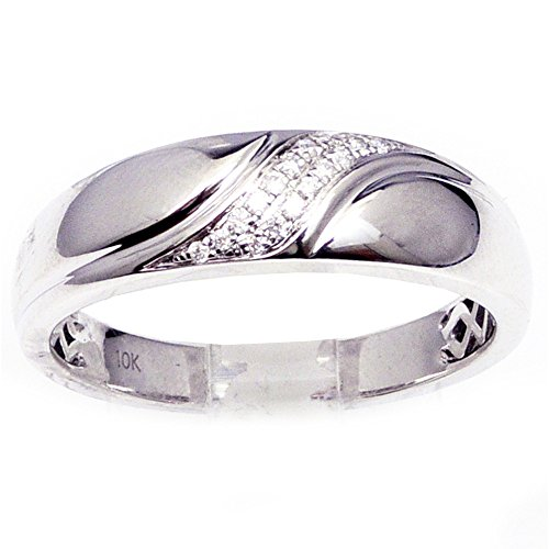 Diamond Wedding Band 1/10ctw 10K White Gold 6mm Wide Comfort Fit Mens Ring (i2 Clarity, 0.1cttw)