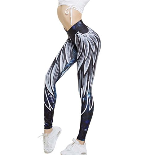 Price comparison product image Nadition Hot Sale Women Wing Printed Yoga Workout Skinny Leggings Fitness Cropped Pants (Blue,  XL)