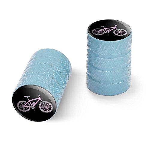 オートバイ自転車バイクタイヤリムホイールアルミバルブステムキャップ - ライトブルーピンクペダルマウンテンバイク自転車