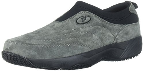Propet Men's Wash N Wear Slip On Suede Walking Shoe, sr Pewter, 10 5E US ()
