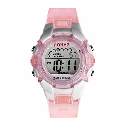 Gbell Girls Digital Sports Watch -LED Quartz Waterproof Wrist Watch with Alarm ,Date, Luminous Display - Pink Purple Blue Green (Pink)