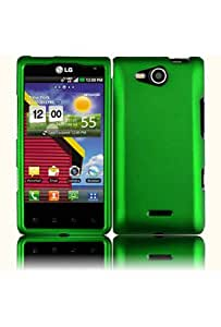 HHI LG VS840 Lucid 4G Rubberized Shield Hard Case - Dark Green (Package include a HandHelditems Sketch Stylus Pen)