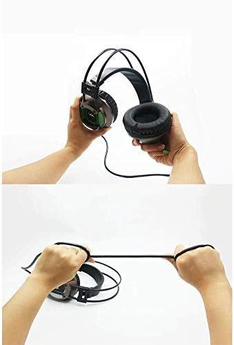 HNSYDS 調節可能なコンピュータゲームのヘッドセットのUSB有線ヘッドセットデュアルオーディオの高音質をクリア ゲーミングヘッドセット