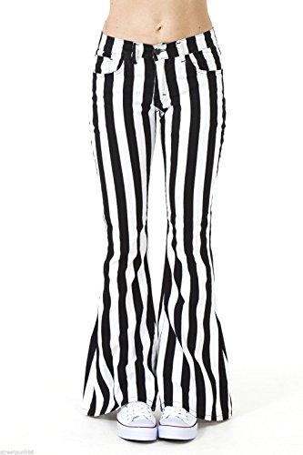 Run & Fly Damen 60S 70S schwarz und weiß Gestreift Schlaghosen Ausgestellt Hippie Vintage Indie