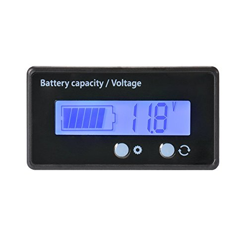 LCD Battery Capacity Monitor Gauge Meter,Waterproof 12V/24V/36V/48V Lead Acid Battery Status Indicator,Lithium Battery Capacity Tester Voltage Meter Monitor Blue Backlight for Vehicle (Bank Battery Monitor)