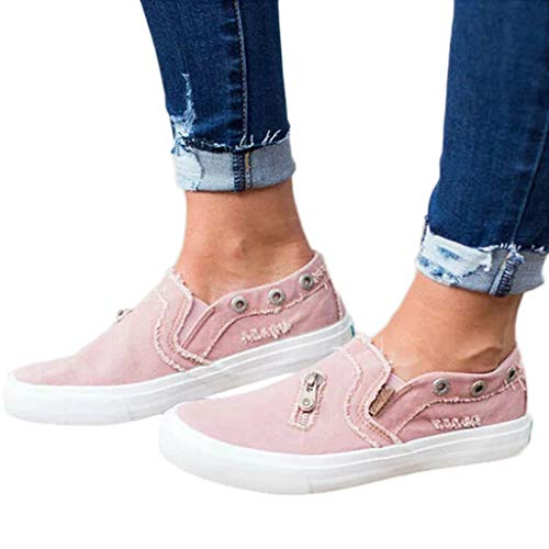 (Women Loafers Vintage Out Shoes Round Toe Platform Flat Heel Buckle Strap Casual Walking Shoes (US:7, Pink - Canvas))