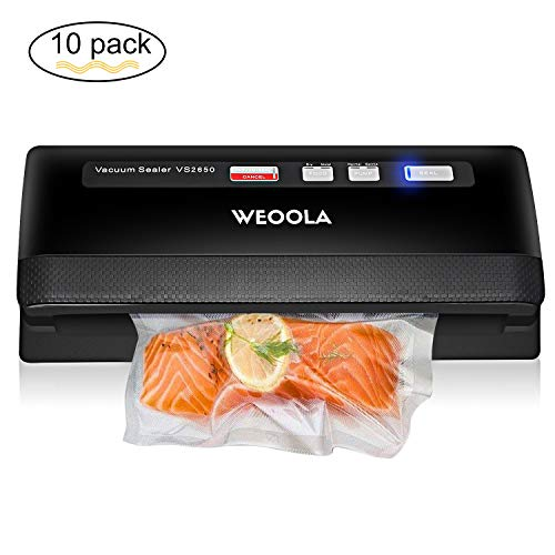 Vacuum Sealer/Food Sealer Machine,Automatic Vacuum Air Sealing System for Food Preservation, Sous Vide,Clothes and Mason Jar | 3 sealing options | 4 Food Modes | Led Indicator Lights | 10 Sealer Bags (Sealing Systems)