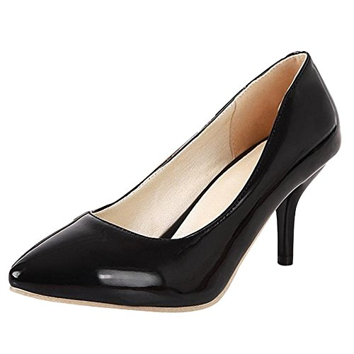 Heel Toe Color Elegant Court Black Carolbar High Pointed Solid Stiletto Women's Shoes xRw88YHqt