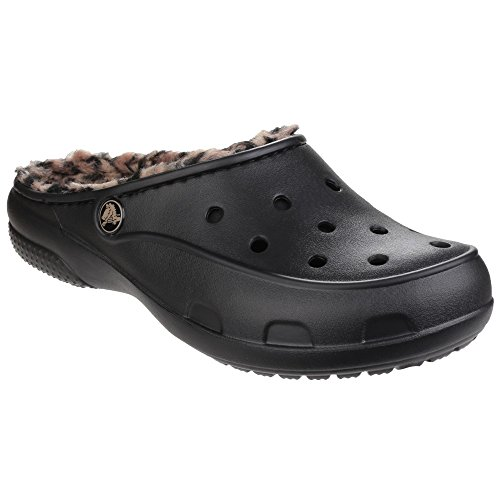 Cheap Crocs Womens/Ladies Freesail Leopard Print Lined Mule Shoes (11 US) (Black/Gold)