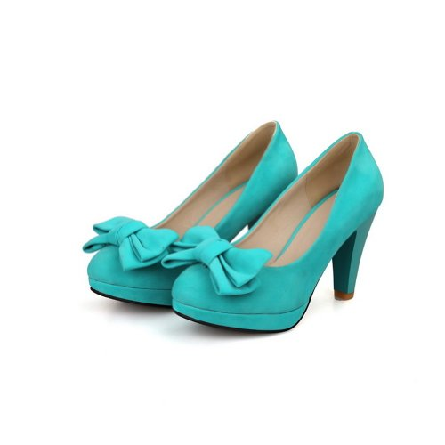 525ad9d67b6 AmoonyFashion Girls Closed Round Toe High Heel Chunky Heels Platform PU  Frosted Solid Pumps with Bowknot