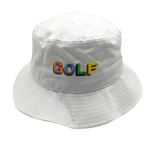 (Unisex 100% Washed Cotton Packable Fishing Summer Travel Bucket Hat Outdoor Cap White)