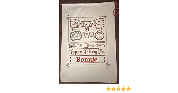 Personalised Dog Santa Sack BEARDED COLLIE Christmas Bag Xmas Treat Gift CDS07