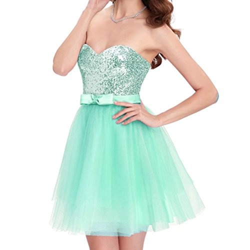 Dresses Gowns Women's Short with Strapless Party Skirts Homecoming Mint Top AiniDress Prom Sequin Tulle 7Edq7ap