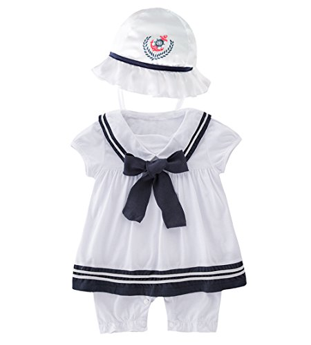 May's Baby Girls Sailor Marine Navy Romper Onesie Outfit with Hat]()
