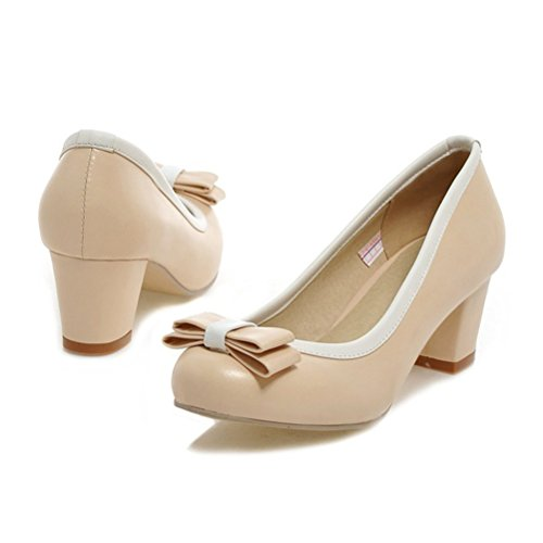 Shoes on Chunky Agodor Bowtie Toe Summer Dress Pumps Mid Beige with Heel Cute Womens Closed Slip HwqBa6w